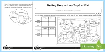 Finding More or Less Ocean Life Activity Sheet - 10 more, 10 less, 100 more, 100 less, place value