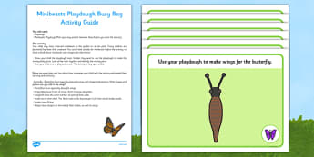 Minibeasts Playdough Busy Bag and Resource Pack For Parents - butterfly, ladybird, spider, wasp, dragonfly, snail, home learning