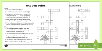 UAE Date Palms Crossword - dates, date palm, palm tree, UAE heritage, UAE About