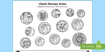 Taflen Lliwio Darnau Arian - Arian, Money, Rheoli Arian, Manage Money, Wales, money, arian, darnau arian, coins, rhifedd, arian b