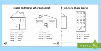 Houses and Homes 2D Shape Search Activity - kinds of houses pdf, houses and homes, shapes, shape and space, 2D shape, find the shape, hidden sha