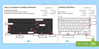 Keys Of A Keyboard Labelling Worksheet - keyboard, worksheet
