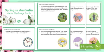 3-4 Spring in Australia Maths Challenge Cards - Problem, Solving, Open Ended, Tasks, mathematics, Spring, Australia, Seasons, Weather,Australia