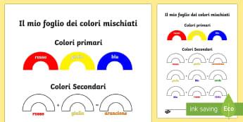 Colori Mischiati Attività - mischia, i , colori, primari, secondari, colore, esercizio, italian, italian, materiale, scolastico