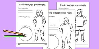 Zaprojektuj koszulkę gracza rugby po polsku - dzieci , Polish