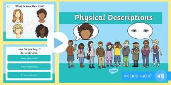 Descriere fizică în limba engleză PowerPoint  - descriere fizică, engleză, aspect fizică, vocablar engleză, corpul omenesc,Romanian