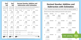 Decimal Number Addition and Subtraction with Estimation Differentiated Activity Sheets - ACMNA128, Year 6 Maths, Subtract Decimals, Decimal Subtraction, worksheets, Take Decimal Numbers, De