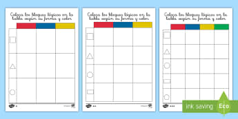 Ficha de actividad de atención a la diversidad: Clasificar bloques lógicos según su forma y color - bloques, lógicos, logicos, dienes, material, manipulativo, matemáticas, mates, pensamiento, lógic