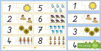 Sommer: Zahlen und Bilder 1 bis 10 Memory Karten - Zahlen, 1 bis 10, Zahlen erkennen, Sommer,