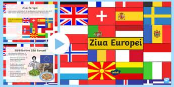 Ziua Europei PowerPoint - Ziua europei, europa, uniunea europeană, română, activități, românia, tări europene, tradiți