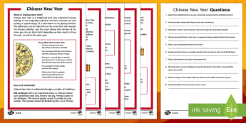 KS1 Chinese New Year Differentiated Reading Comprehension Activity - Chinese New Year KS1, EYFS, Celebration, festivals, rooster, traditions, lunar year, red envelopes,