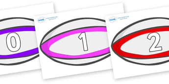 Numbers 0-50 on Rugby Balls - 0-50, foundation stage numeracy, Number recognition, Number flashcards, counting, number frieze, Display numbers, number posters