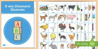 Il mio dizionario illustrato Attività - vocabolario, parole, illustrazioni, figure, elementari, materiale, scolastico, italiano, italian, di