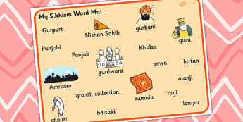 Sikhism Word Mat - sikhism, sikhs, visual aid, keywords, word mat