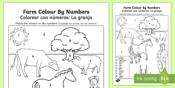 Farm Colour by Number English/Spanish - colouring, colouring activities, count, numbes, colering, colourby numbers, colourng, coloyur by num