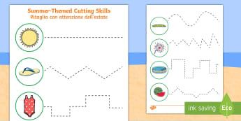 Summer Cutting Skills Activity Sheet English/Italian  - Summer, summer season, first day of summer, summer vacation, summertime, grip strength, hand-eye coo