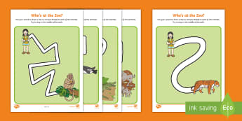 Who's at the Zoo? Pencil Control Path Activity Sheets - exploring my world, aistear, story, zoo, literacy, numeracy, oral language, reading, animals, tiger,