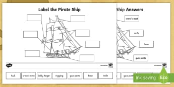 Label the Pirate Ship Activity Sheet - pirates, galleon, ships, pirate party, jolly roger, worksheet