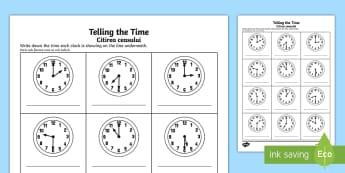 O'clock and Half Past Times Activity Sheet English/Romanian - O'clock and Half Past Times Activity Sheet - o'clock, half past, times, activity,Timw, worksheet,R