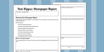 Yom Kippur Newspaper Article Writing Frame - yom kippur, writing frame