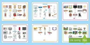 Parts of a House Word Mat Set - BIC picture, houses and homes, house, home, Word cards, Word Card, flashcard, flashcards, brick, stone, detached, terraced, bathroom, kitchen, door, caravan, where we live, ourselves
