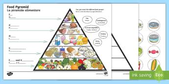 Food Writing Pyramid Activity English/Italian - Food Writing Pyramid Activity - food pyramid, food groups, literacy, writing, food activity, lieracy