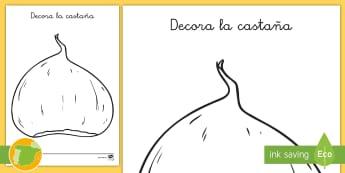 Hoja de colorear: decora la castaña - otoño, fiestas, tradiciones, castañas, castañada,Spanish