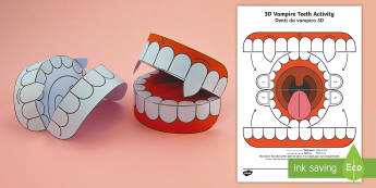 Simple 3D Halloween Vampire Teeth Activity Paper Craft - Italian / English - EAL, celebrations