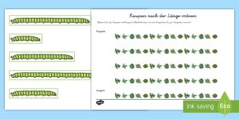 Raupen nach der Länge ordnen Aktivität  - Raupe, lang, kurz, groß, klein, sortieren, ,German