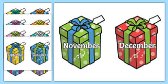 Months on Birthday Presents Urdu Translation - urdu, Months poster, Months display, Months of the year, birthdays, presents