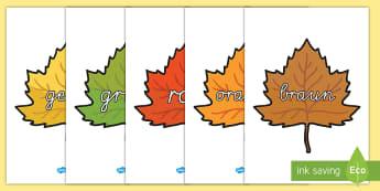 Farbnamen auf Herbstblättern Poster für die Klassenraumgestaltung - Farbnamen auf Herbstblättern Poster für die Klassenraumgestaltung, Farben, Farbnamen, Herbst, Herb