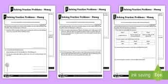 Solving Fraction Problems   Money Differentiated Activity Sheets - Ratio and Proportion, ratio. unequal sharing, unequal grouping, word problems, money