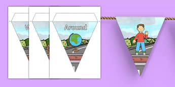 Flat Boy Bunting - flat stanley, flat boy, jeff brown, bunting, display bunting