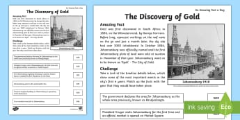 The Discovery of Gold Activity Sheets - Johannesburg, gold, discovery, South Africa, timelines, matching, history, South African history