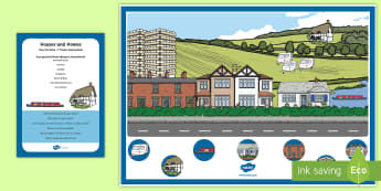Houses and Homes Can You Find...? Poster and Prompt Card Pack - EYFS Houses and Homes, my environment, bungalow, flats, caravan, canal boat, cottage, semi detached,