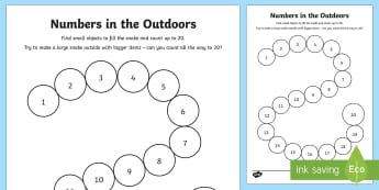 Maths Outdoors: Numbers to 20 Activity Sheet-Scottish - CfE Outdoor Learning, nature, forest, woodland, playground, maths, counting, numbers to 20, numeracy