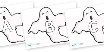 A-Z Alphabet on Ghosts (Plain) - A-Z, A4, display, Alphabet frieze, Display letters, Letter posters, A-Z letters, Alphabet flashcards
