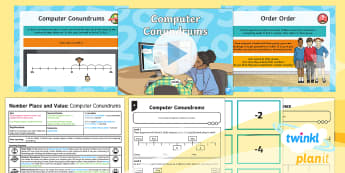 PlanIt Y5 Number and Place Value Lesson Pack Negative Numbers (3) - Number and Place Value, Interpret Negative Numbers in Context, Count Forwards and Backwards with Pos