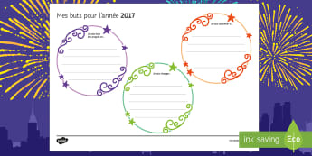 My Goals for 2017 KS3 Writing Frames-French - New Year, nouvel an, nouvelle année, goal, objective, but, objectif, résolution, resolution, writi