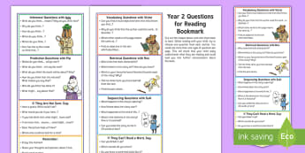 Year 2 Questions for Reading Bookmark Question Cards - Y2, comprehension, understanding, reading dogs, parents, questioning