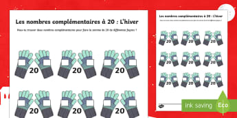 Les nombres complémentaires à 20 L'hiver Feuille d'activités - Hiver, winter, nombres, complémentaires, 20, number, bonds, maths, mathématiques, compter, additio
