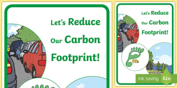 Let's Reduce Our Carbon Footprint! Display Poster - tidy kiwi, New Zealand, rubbish, recycling, Years 1-6, display poster, carbon footprint