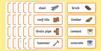 Builders Yard Role Play Labels - role-play, labels, activity