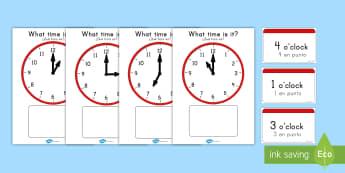 Clock Matching Game O´Clock US English/Spanish (Latin) - Clock Matching Game - O\' Clock - Clock time matching game, Time, Time resource, Time vocabulary,