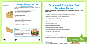 Design and Create a Burger Activity - Australia YR 3 and 4 Design Technology, design, food technology, food production, food design, worki
