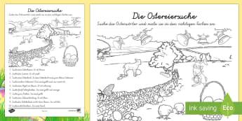 Ostern Suchbild Arbeitsblatt: Lesen und Malen - Ostern, Suchbild, Ostereiersuche, Erstes Lesen, DAF, DAZ,German