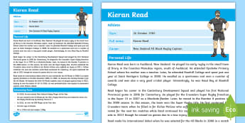 Kieran Read Fact Sheet - Kieran Read, All Blacks, Rugby, Lions Tour, Sports, Famous New Zealanders