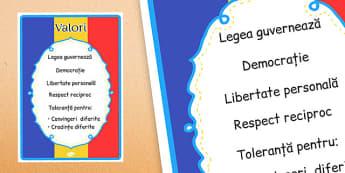 Ziua Națională a României - Planșă valori - ziua națională a româniei, România, 1 Decembrie, ziua României, planșă, de perete, cartonașe, tricolor, valori, materiale, materiale didactice, română, romana, material, material didactic