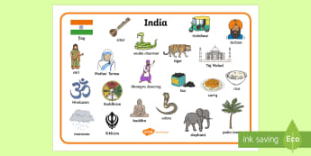 India Word Mat  - India Word Mat - India, bhangra, elephant, sari, peacock, cobra, curry, rickshaw, word mat, mat, wri
