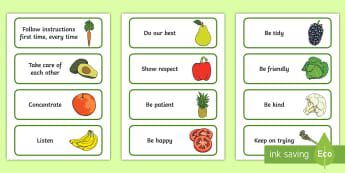 Healthy Food Class Charter-Themed Cards - rules, behaviour, science, display, teacher organisation